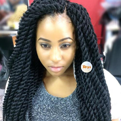Long layered crochet hair style twists